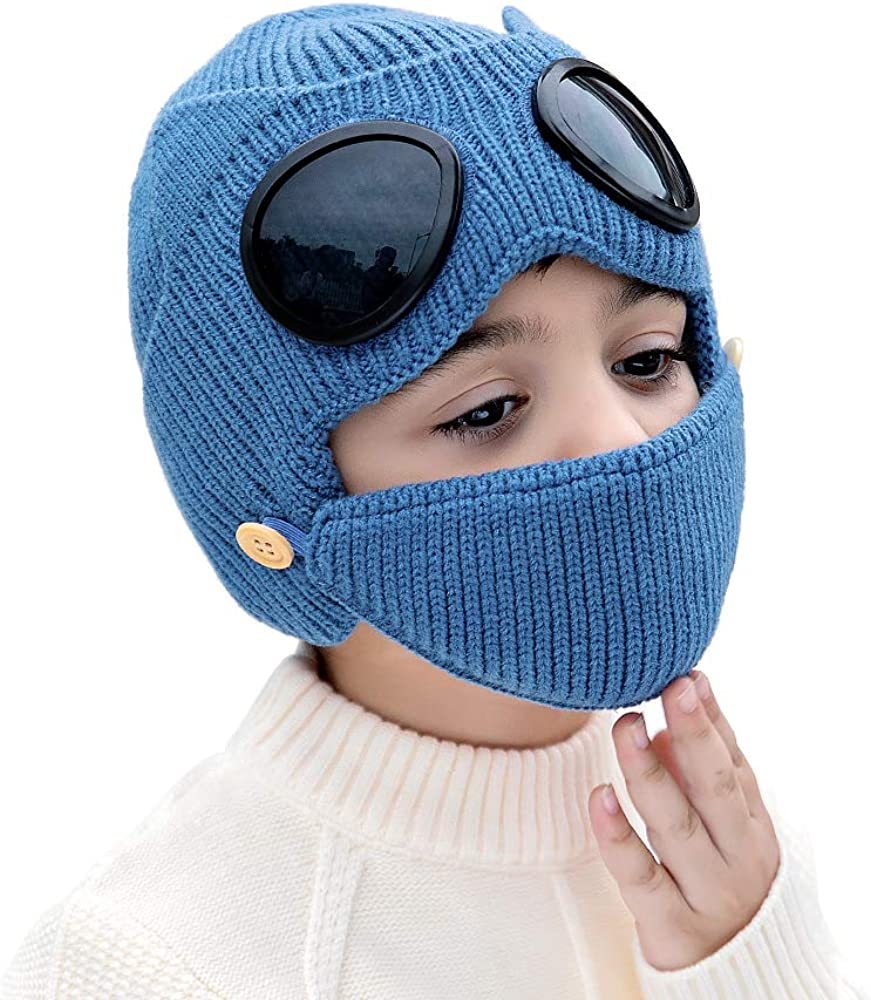 AMHDV Kids Warm Winter Hat Baby Knit Ear Flaps Beanie Hat with Goggles, 4-7 Old