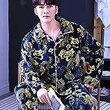 Schlafanzug Herren Pyjama Set,Winter Langärmeliges Korallenvlies Warmes Weiches Flanell Revers Nachthemd Chinesischer Drache Pyjama Set Herren 2St. Lounge Homewear Nachtwäsche Sets Plus...