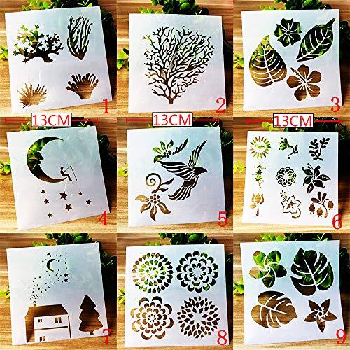 BLUGUL Journal Zubehör Schablonen, Zeichenschablonen Muster, für DIY Geschenkkarten, Fotoalbum, Kunst-Projekte, Papier Karte Deko, Mond Blume Pflanze Vogel, Natur A 9 Stück