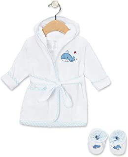 Spasilk Hooded Terry Bathrobe With Booties, Blue Whale