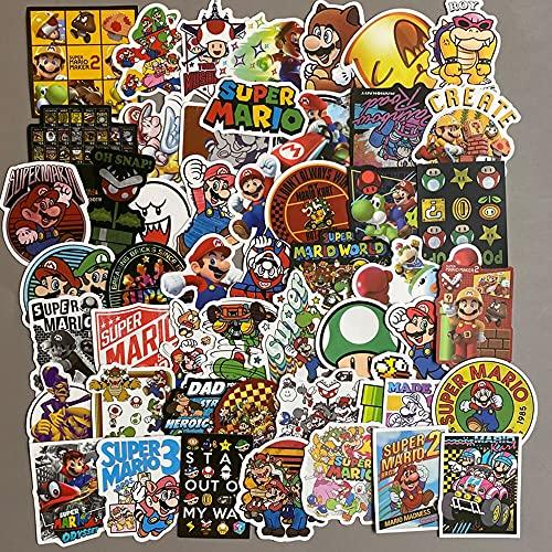 Super Mario etiqueta engomada 200 unids /lot Anime video juego Mario etiqueta impermeable maleta DIY portátil guitarra skate teléfono celular ordenador juguete preciosas pegatinas