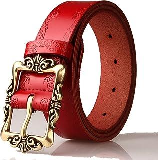 1e02e3619 Red Retro Leather Pin Buckle Belt Flower Print Designer Belt for Women