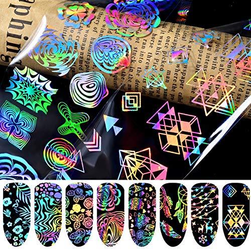 Amorar Nail Art Sticker Selbstklebende Nagel Sticker Nagelaufkleber Tattoo Abziehbilder Nail Art Maniküre DIY Nagel Nageldesign Dekoration 8 Blätter Laser-Illusionen, EINWEG Verpackung