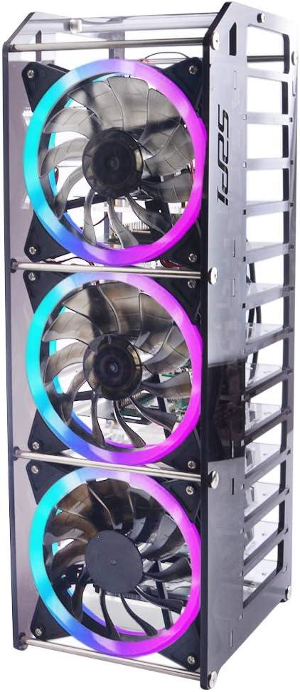 GeeekPi Raspberry Pi Cluster Case, Raspberry Pi Rack Caso apilable con Ventilador 120mm RGB LED 5V Ventilador para Raspberry Pi 4B/3B+/3B/2B/B+ y Jetson Nano (12 Capas)