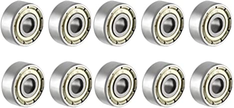 uxcell 623ZZ Deep Groove Ball Bearing Double Shield 623-2Z 80023, 3mm x 10mm x 4mm Chrome Steel Bearings Pack of 10