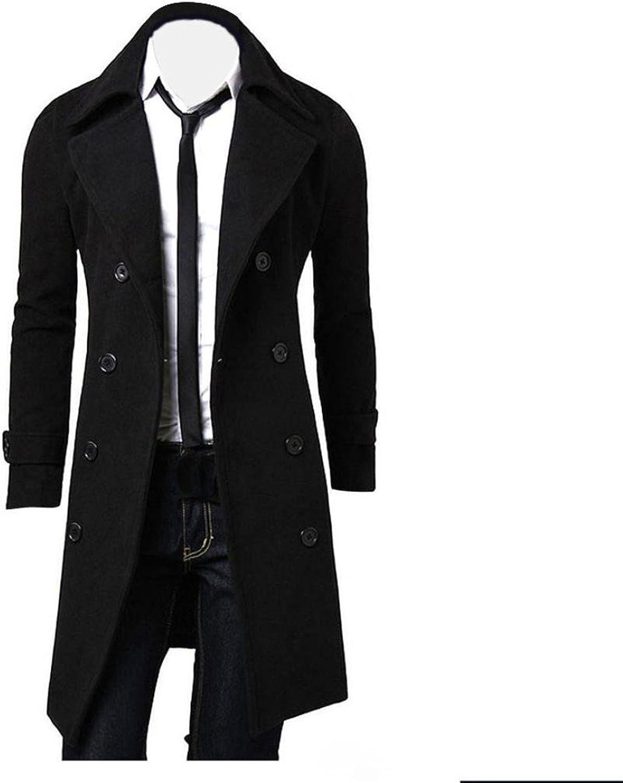 Margaret Pao Men Trench Coat, Mens Winter Slim Stylish Trench Coat Double Breasted Long Jacket Parka Overcoat