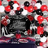 Decoraciones de fiesta rojo, negro y plateado para mujeres, suministros de fiesta de cumpleaños, guirnalda de globos rojos, negros y plateados, telón de fondo de feliz cumpleaños