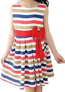 XueXian(TM) 子供服 ボーダーワンピース ノースリーブ キッズ服 丸襟 リボン飾り ロングTシャツ