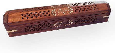 WILLART Wooden Hand Carved Coffin Incense Burner Brass Inlays & Storage Incense Holder, Incense Stick Stand, Stick Holder, Incense Burners | Handmade | (12 x 2.5 Inch)