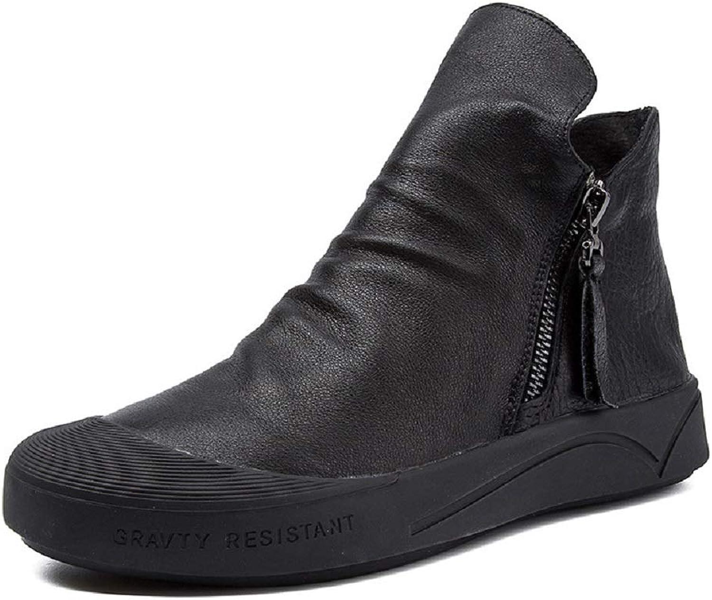 Gaslinyuan Weiche Sohle Stiefel Frauen Leder Flache Flache Zipper Ankle Schuhe (Farbe   Schwarz, Größe   EU 38)  Nr.1 online
