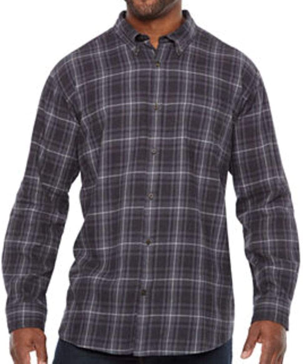 The Foundry Supply Men's Classic Fit Flannel Shirt Grey Plaid
