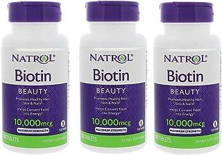 【3個セット】ビオチン(ビタミンH) NATROL(ナトロール) 10000mcg(10mg) 100粒 [並行輸入品]