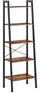 Ballucci Industrial Ladder Shelf, 5-Tier Bookshelf, Free Stand Storage Shelves, for Living Room, Office, Bedroom, or Study Room, Rustic Brown