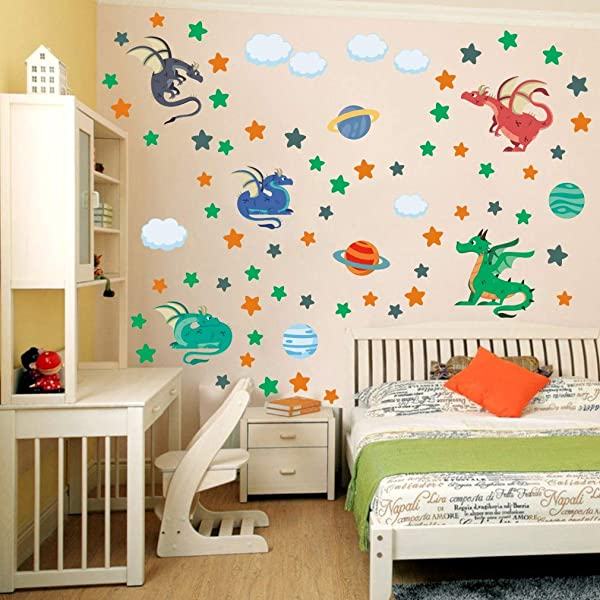 IARTTOP Adorable Dragon Wall Decal Planet Stars Clouds Sticker Colourful Animal Wall Art Flying Pterosaur Decals For Boys Toddlers Nursery Playroom Decoration
