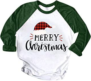 Christmas T-Shirts E-Scenery Women Hooded Pullover Color Patchwork Print Tops Blouse