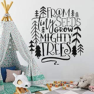 LilithCroft99 Nursery Wall Decal from Tiny Seeds Grow Mighty Trees Wall Sticker Tribal Kids Room Decor Woodland Tree Vinyl Decal 57 60cm
