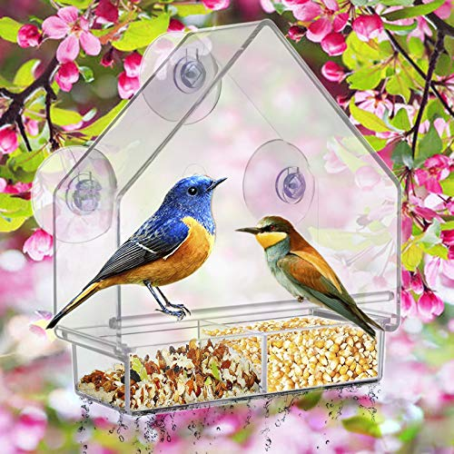 Window Bird Feeders,Bird Feeders for Outside,with 3 Strong Suction Cups and Removable Sliding Tray with Drain Holes,Clear Acrylic for Bird Watching