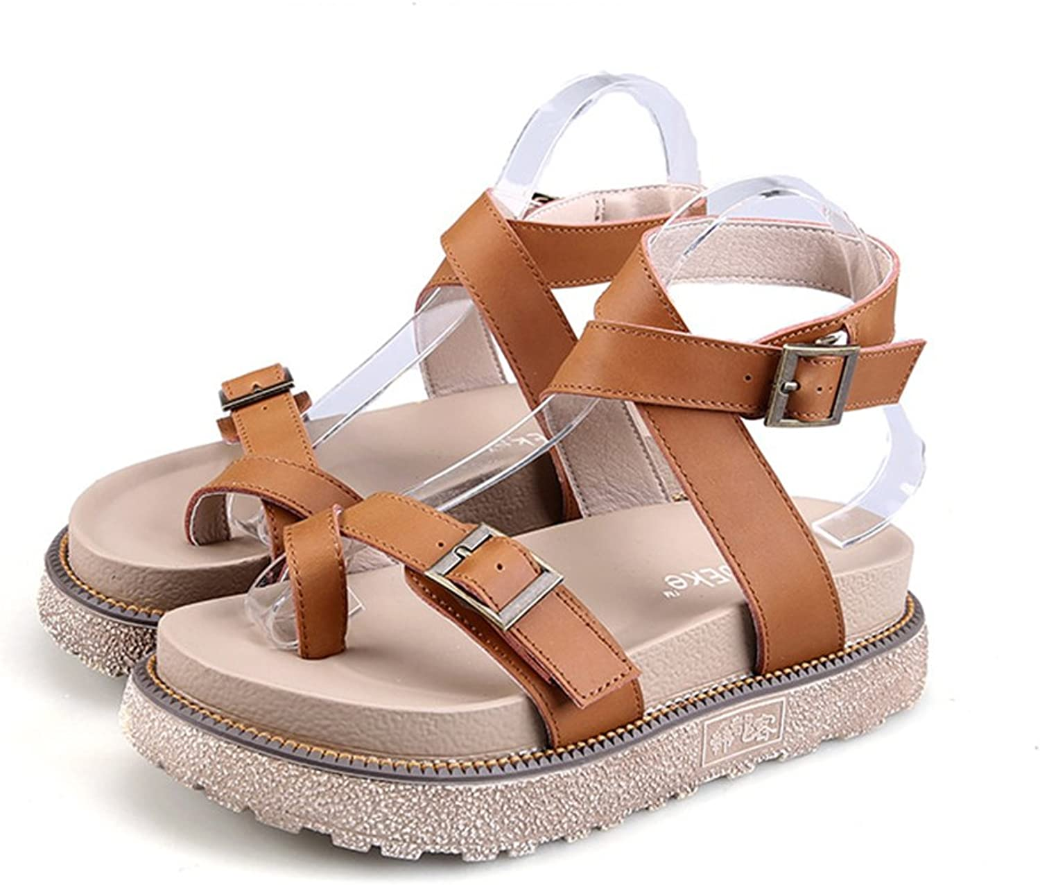Mubeuo Womens Leather Skidproof Ankle Strap Fashion Sandals