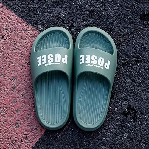 N\C Zapatillas Mujer Verano Hogar Hogar Pisar Mierda Sensación EVA Pareja Interior Antideslizante Baño Letra Sandalias y Zapatillas para Hombre (2 Pares)