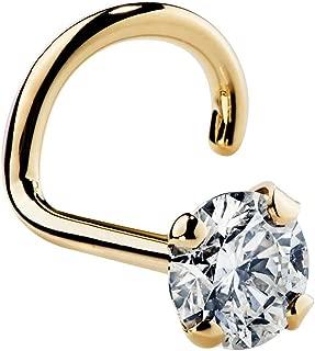 Cubic Zirconia Nose Ring Twist - Nickel-Free 14K Yellow Gold Nose Screw - 1.5mm, 2mm, 3mm Stud 18 Gauge