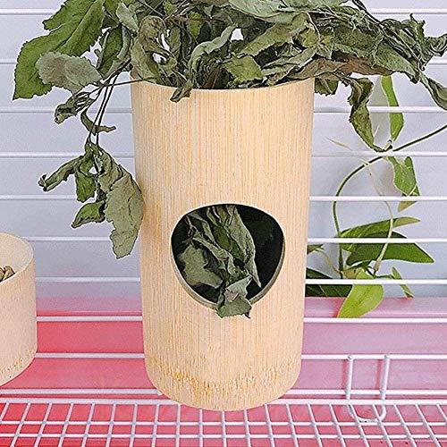 HEEPDD Alimentador para Conejos, Mascota colgada Conejos Bamboo Grass Bowl Menos desperdiciado Rack Herramienta de alimentación de heno para cobayas Hámster Pequeño Animal (Arreglado en una Jaula)