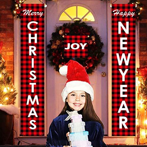 Gichies Set de decoración de Navidad para el porche de bienvenida feliz navidad Banner de Navidad colgante decoración para interior