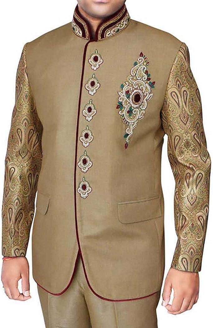 INMONARCH Mens Tan 2 Pc Jodhpuri Suit Royal Engagement JO258