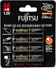 Fujitsu HR-3UTHCEX(4B) 4-Pack AA High Capacity Ni-MH Pre-Charged Rechargeable Batteries (Made in Japan)