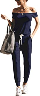 Women's Jumpsuits Sexy Off Shoulder Elastic Waist Beam Foot Romper Playsuit with Pockets