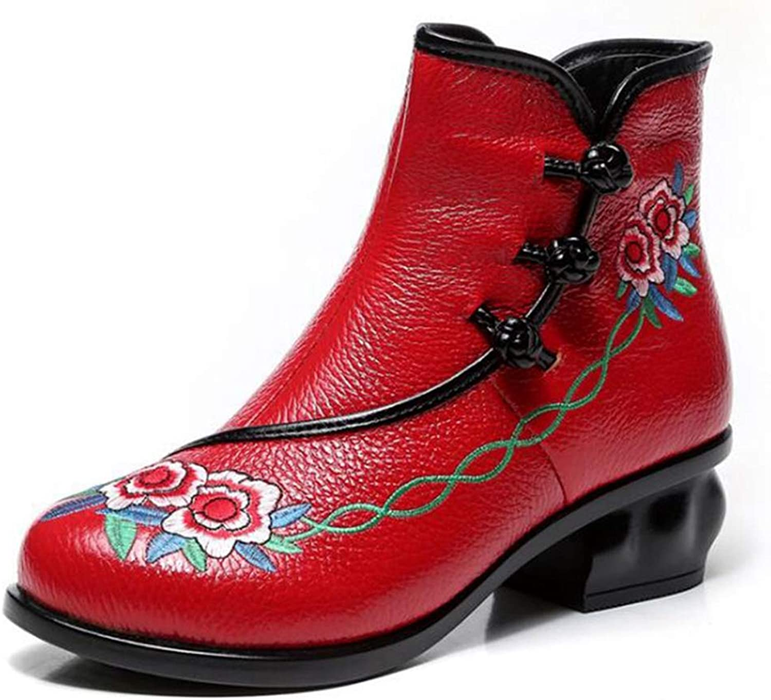 Hoxekle Woman Fashion Embroidery Ankle Boots Side Zipper Round Toe Retro Fashion Soft Mother Outdoor Short Boots