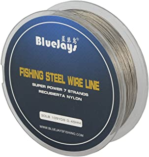 0.45mm 100 Metres 20 Pound Fishing Stee Wire Nylon Coated 1x7 Stainless Steel Leader Wire Super Soft Fishing Wire Lines