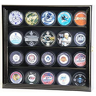 20 Hockey Puck Display Case Cabinet Holder Wall Rack 98% UV Protection (Black Finish)