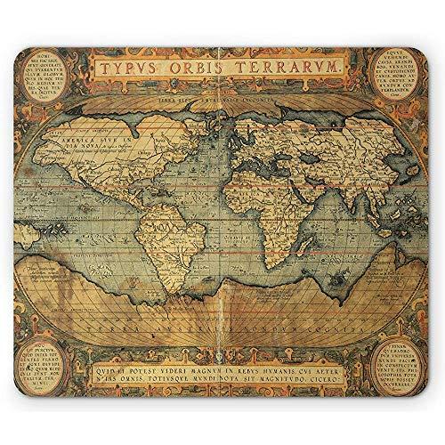 Wereldkaart Muis Pad, Oude Grafiek Vintage Samenstelling van 16e Eeuw Atlas Print, Antislip Rubber Mousepad, 25x30cm Zand Blauw