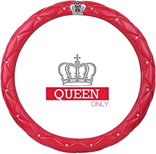 Ladies Car Steering Wheel Cover with Diamond Lattice Girly Classy Fashion Collection Car Steering Wheel Cover with Crown and Diamonds (Queen ONLY) (A - Red)