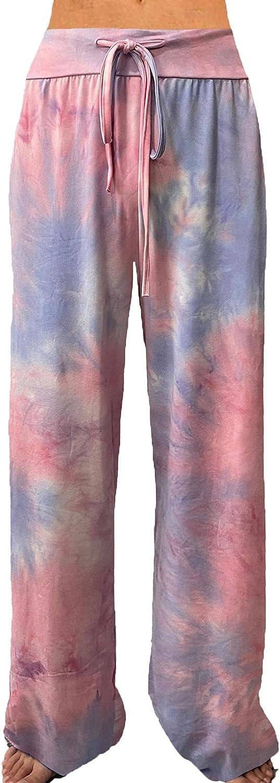 ROSA JUNIO Soft Pajama Pants for Women Comfy Casual Drawstring Tie Dye Wide Leg Lounge Pants