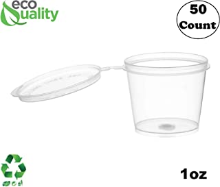 EcoQuality [50 Pack] 1 Oz Leak Proof Plastic Condiment Souffle Containers with Attached Lids - Portion Cup with Hinged Lid Perfect for Sauces, Samples, Slime, Jello Shot, Food Storage & More!