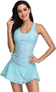 MiYang Women's Tankini Sets with Striped Vintage Boyshort Two Pieces Swimsuits Swimwear Swim Dress White and Light Blue S