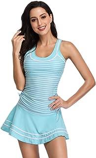 Miyang Women's Tankini Striped Vintage Swim Dress - Blue - Small (US 4-6)