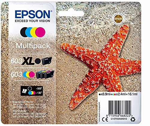 EPSON Multipack 4 colori 603 XL Black/Std. CMY, C13T03A94020