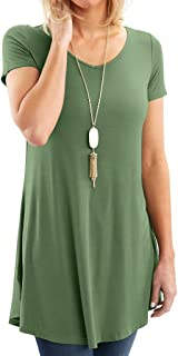 Bella Women's Designer Short & Long Sleeve Tunic Tunic - Super Soft Loose Fit T-Shirt Tunic Top, Symmetrical Hem, Casual Blouse