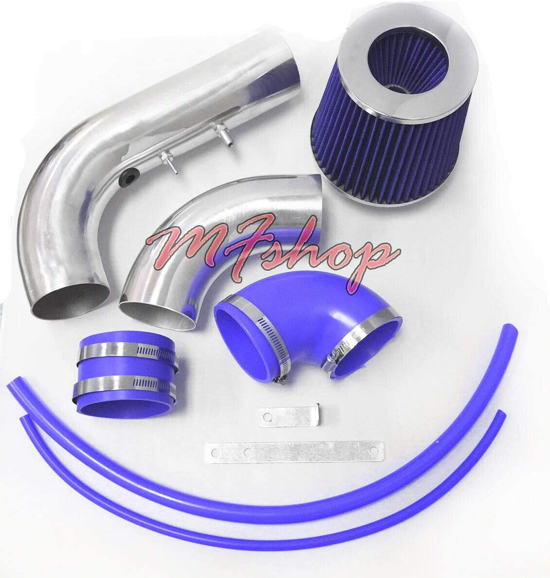 Performance 2PC Design Air Intake Filter System For 2002 2003 2004 2005 Chevy Cavalier Pontiac Sunfire With 2.2L L4 Ecotec Engine Black Accessories with Blue Filter