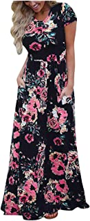 Women Summer Casual Long Maxi Dress, Ladies Floral Printed Short Sleeve Party Dress