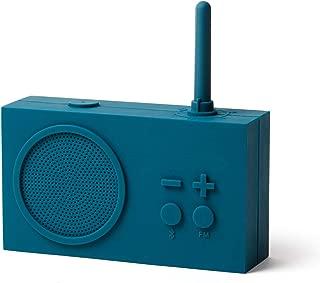 Lexon Tykho 3 FM Radio, Bluetooth Speaker, 5W, Splash Proof IPX4, Autonomy 20 Hours, Silicone Rubber Case - Blue