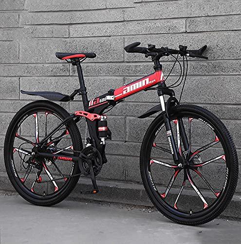 26 Inch Full Suspension Folding Mountain Bike, 21/24/27/30 Speed High-Tensile Carbon Steel Frame MTB, Dual Disc Brake Mountain Bicycle For Men And Women