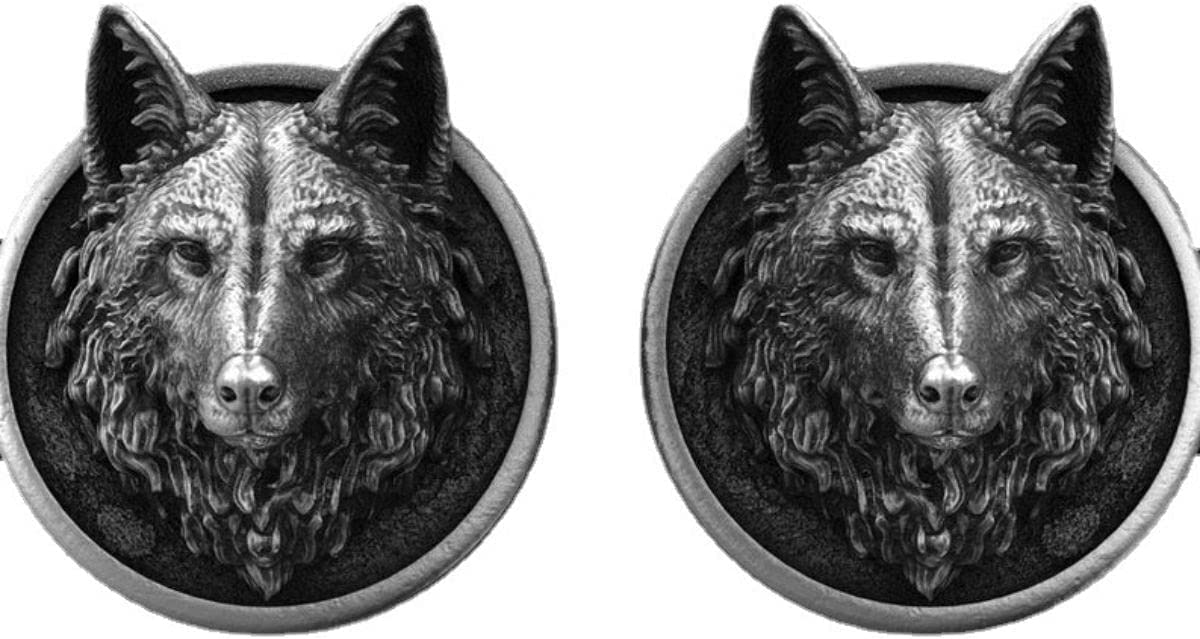BO LAI DE Men's Cufflinks Retro Handmade Wolf Head Pure Tin Cufflinks Shirt Cufflinks Suitable for Business Activities, Conferences and Dances, with Gift Box