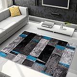 Tapiso Jawa Alfombra Salón Comedor Dormitorio Diseño Moderno Gris Antracita Azul Rayas Pelo Denso Frise 140 x 190 cm