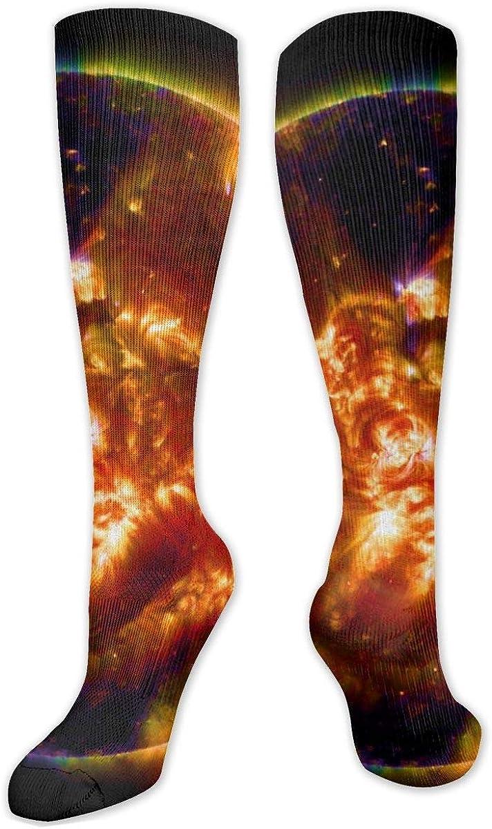 Flame Phoenix Sun Knee High Socks Leg Warmer Dresses Long Boot Stockings For Womens Cosplay Daily Wear