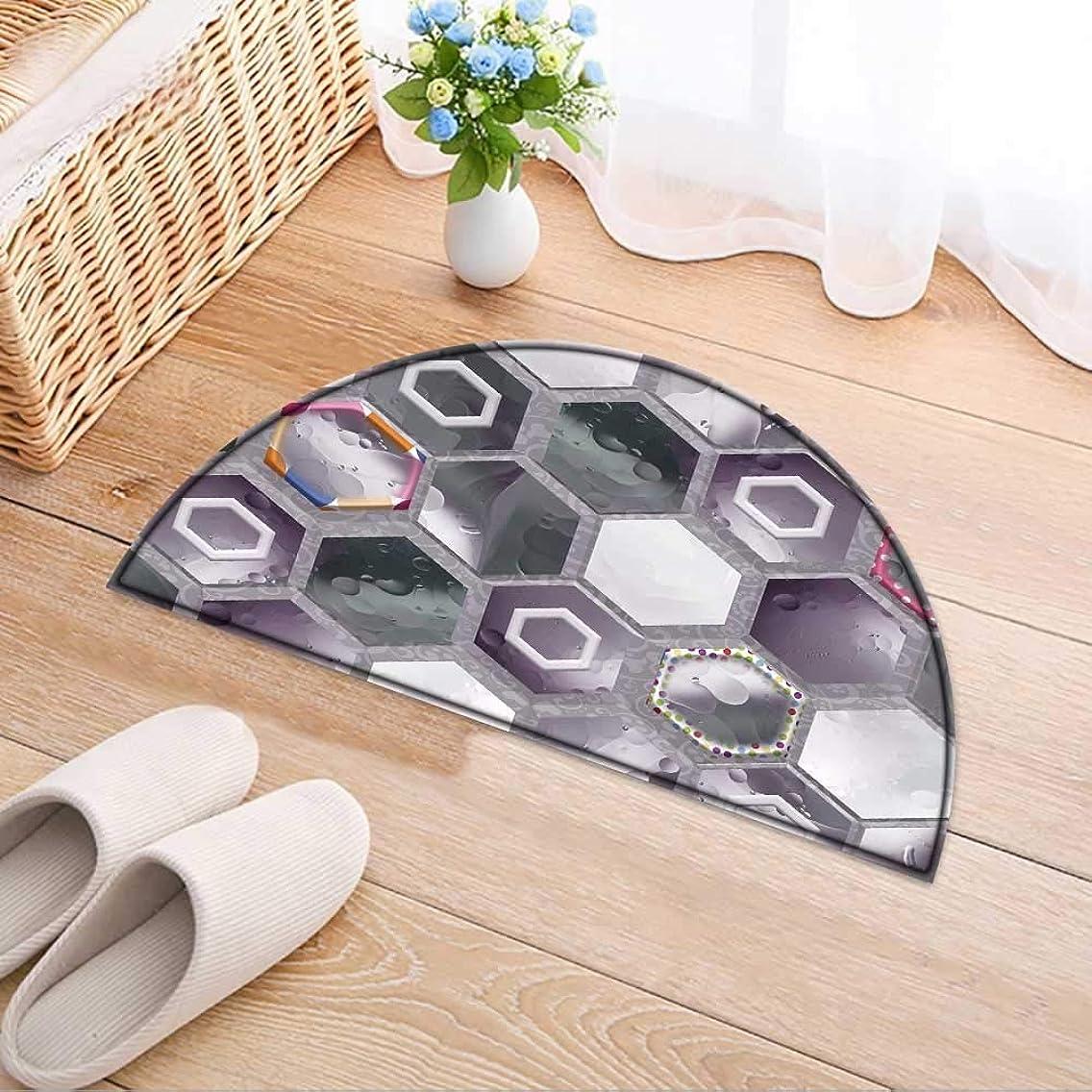 Semicircle Area Rug Carpet Tiles Decor Door mat Indoors Bathroom Mats Non Slip W24 x H16 INCH