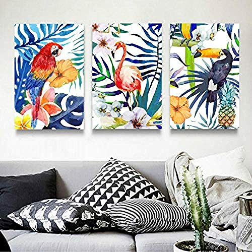 Coloridas hojas modernas flores loro lienzo pinturas cartel impresión pared arte cuadros para sala decoración sin marco