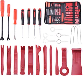MICTUNING Upgraded 25Pcs Trim Removal Tool Kits, Precision Hook Pick Auto Clip Pliers Fastener Remover Car Panel Door Audio Pry Tool Set with Storage Bag